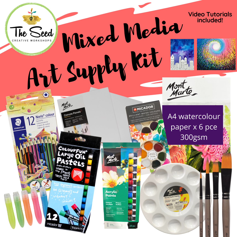 Mixed Media Art Supply Kit  & Instructional Lessons!