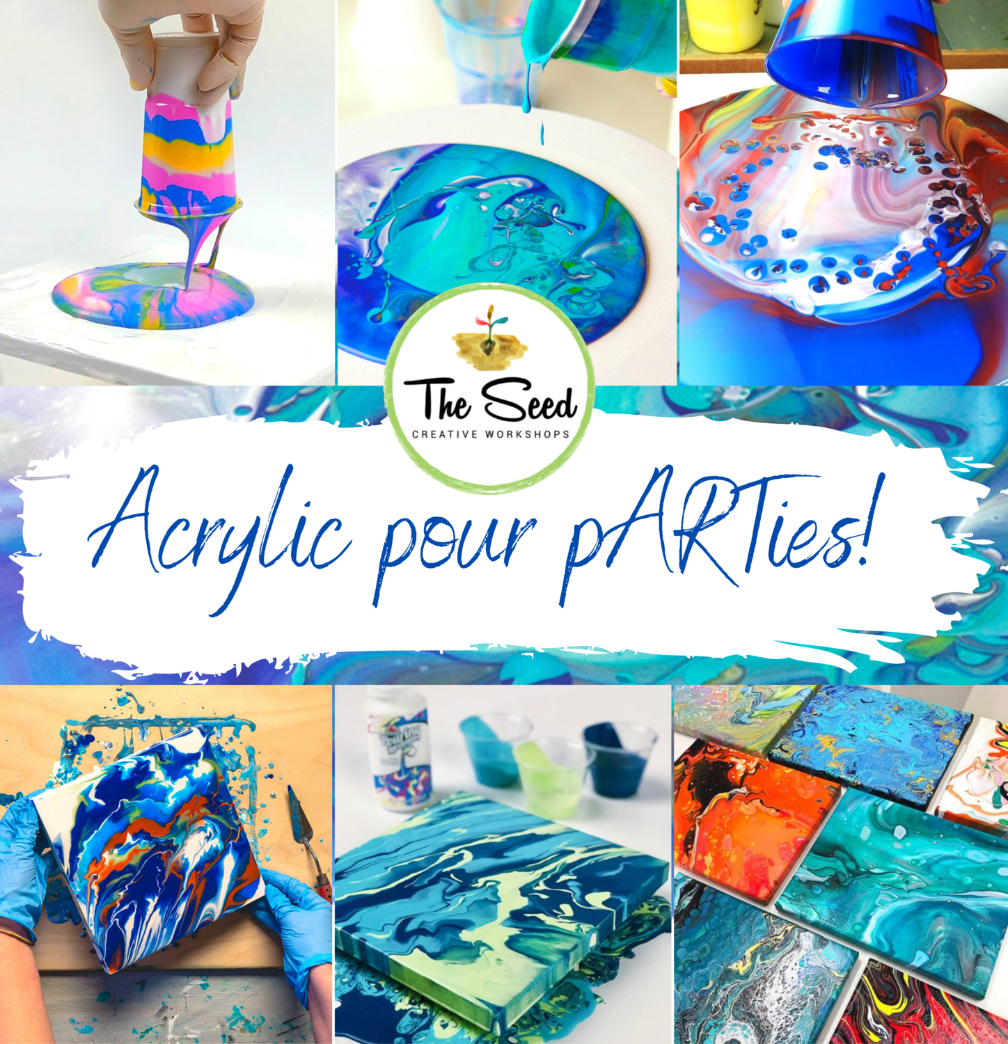 Acrylic pouring workshop - Saturday 21 November 2-4pm