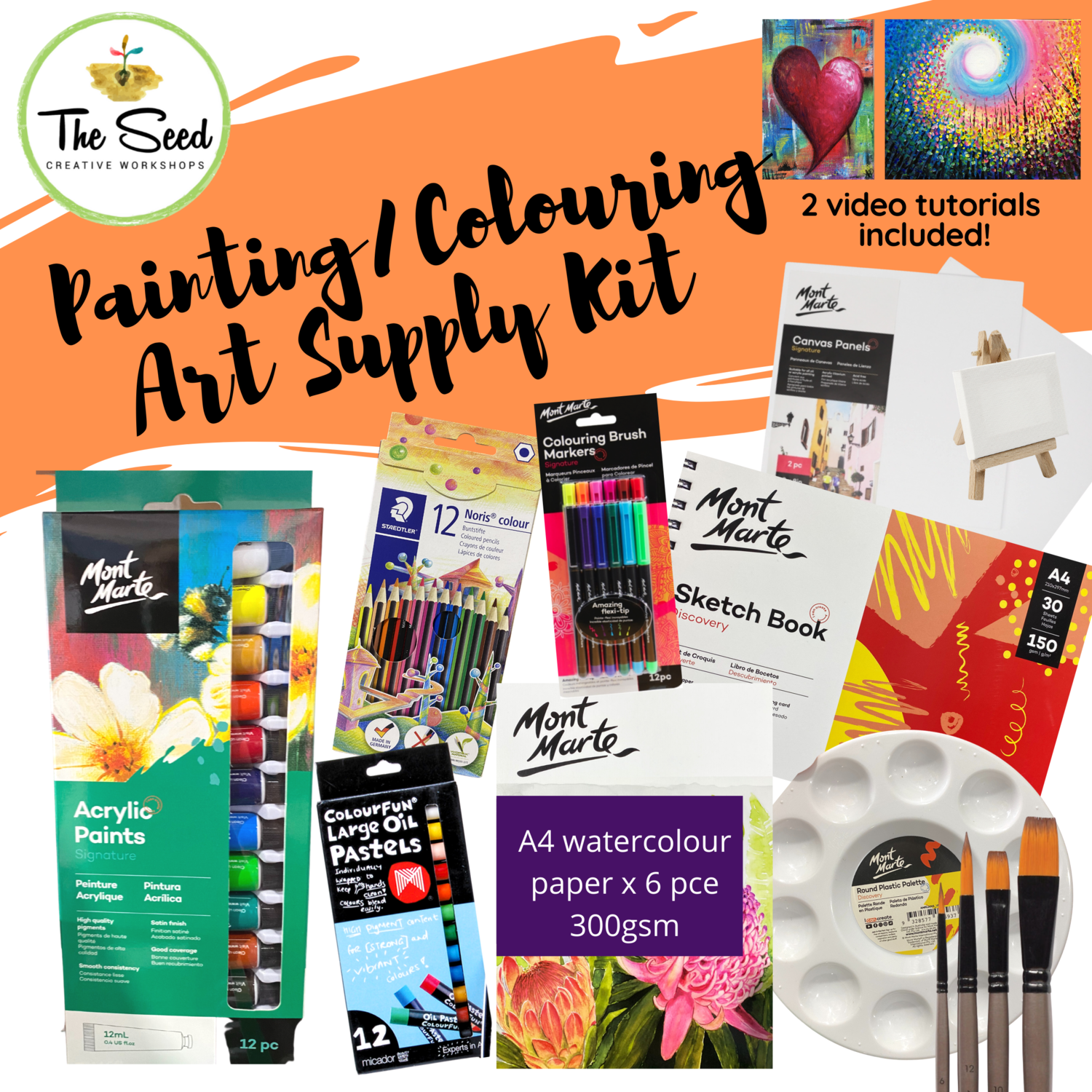 Painting/Colouring Art Supply Kit  & Instructional Lessons!