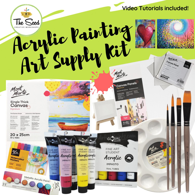 Acrylic painting Art Supply Kit  & Instructional Lessons!