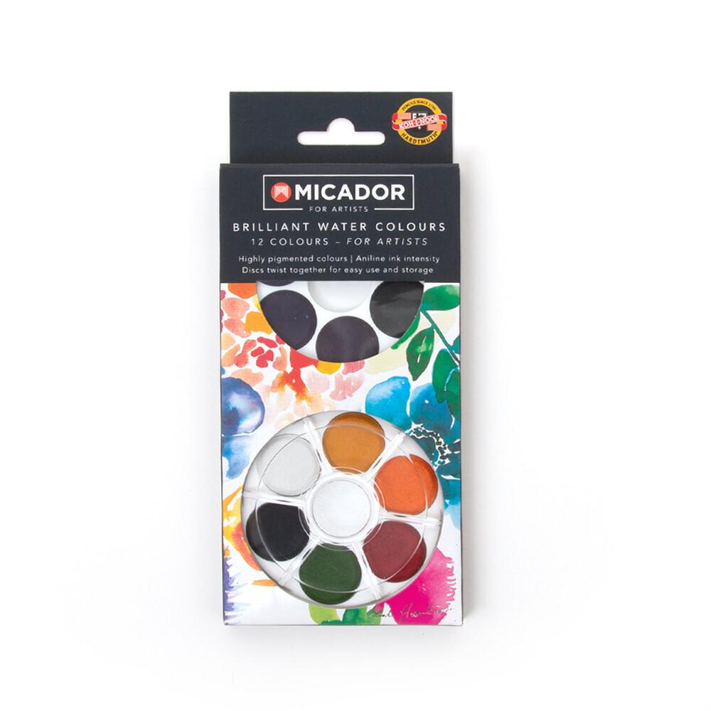Micador 12 Colour Watercolour Disks
