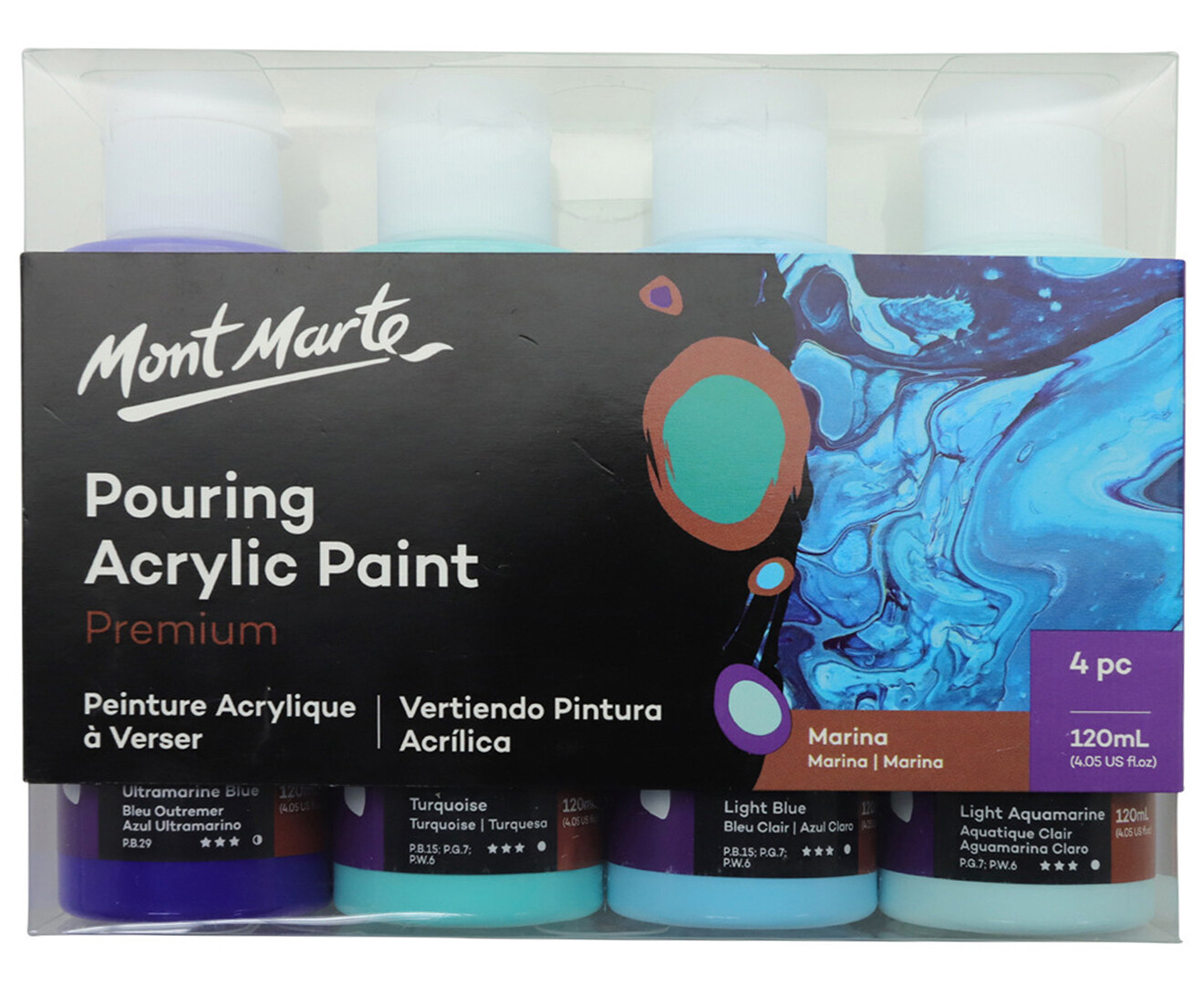 4pc Acrylic Pouring Paint set 60ml