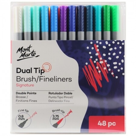 MM Dual Tip Brush/Fineliners 48pc Tri Grip