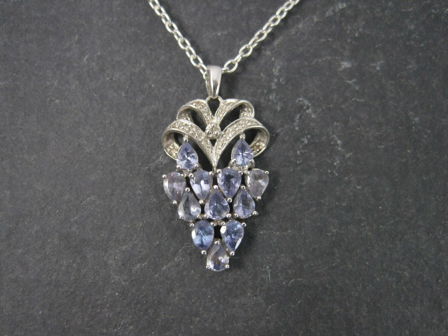 Vintage 90s 10K Tanzanite Diamond Pendant Necklace