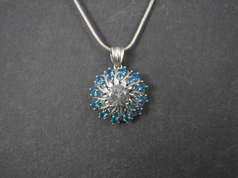 Vintage 10K Aquamarine Apatite Pendant Necklace Chuck Clemency