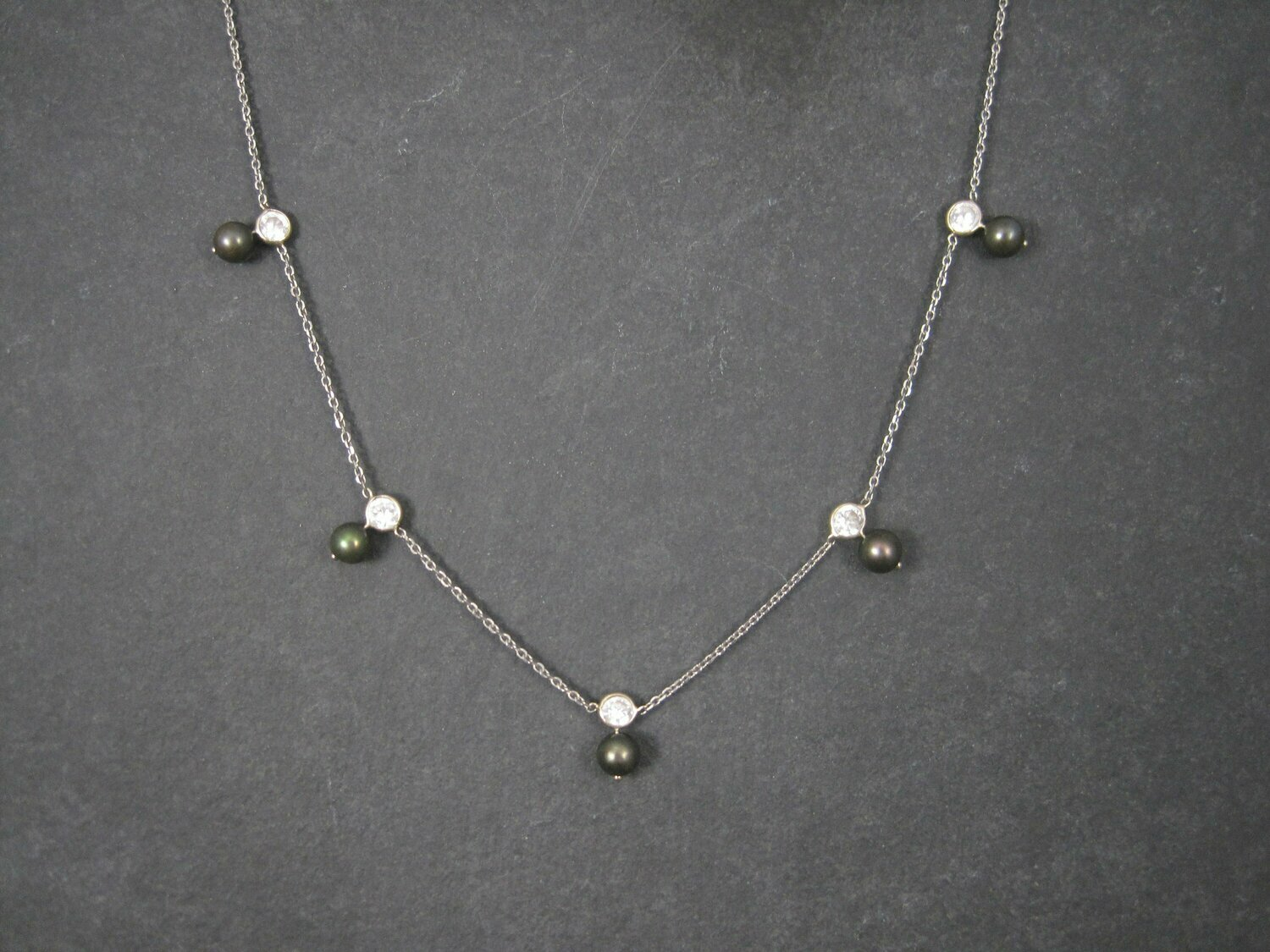 Vintage 14K Peacock Pearl CZ Necklace 17 Inches
