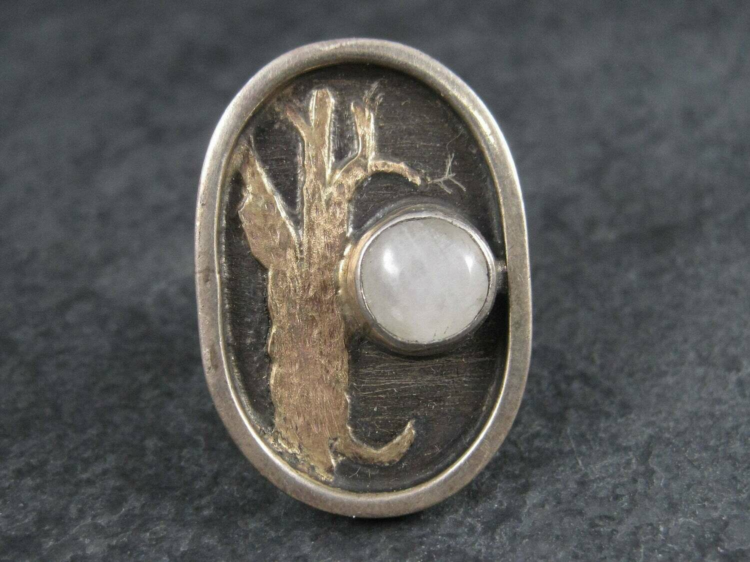 14K Oak Tree Moonstone Winter Solstice Moon Ring Size 5