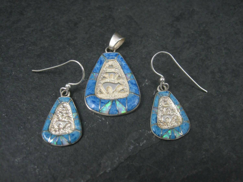 Vintage 90s Southwestern Sterling Denim Lapis Bear Pendant and Earrings Jewelry Set