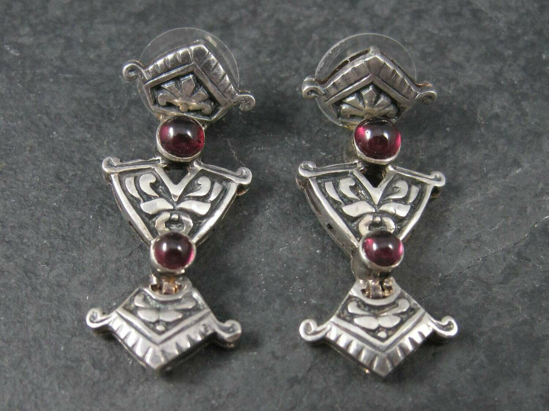 Vintage Nouveau Style Garnet Earrings