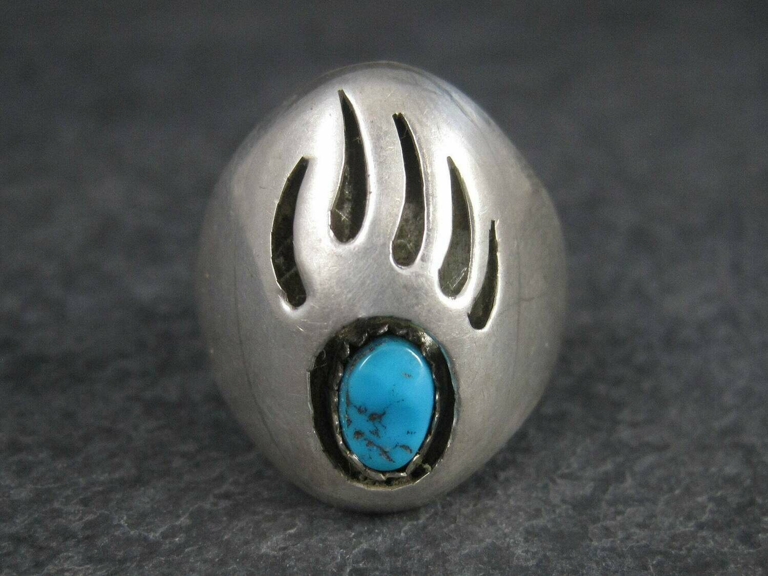 Navajo Sterling Shadowbox Turquoise Bear Paw Ring Size 11