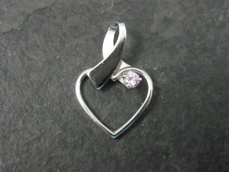 Dainty Vintage Sterling Pink Cz Heart Pendant