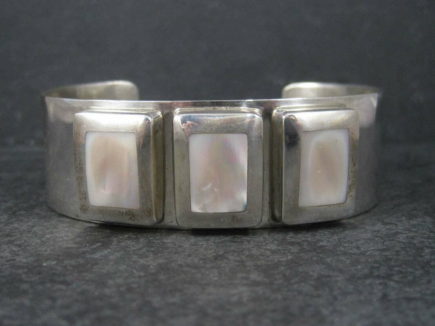 Large Vintage Sterling Native American Mother of Pearl Cuff Bracelet 7 Inches