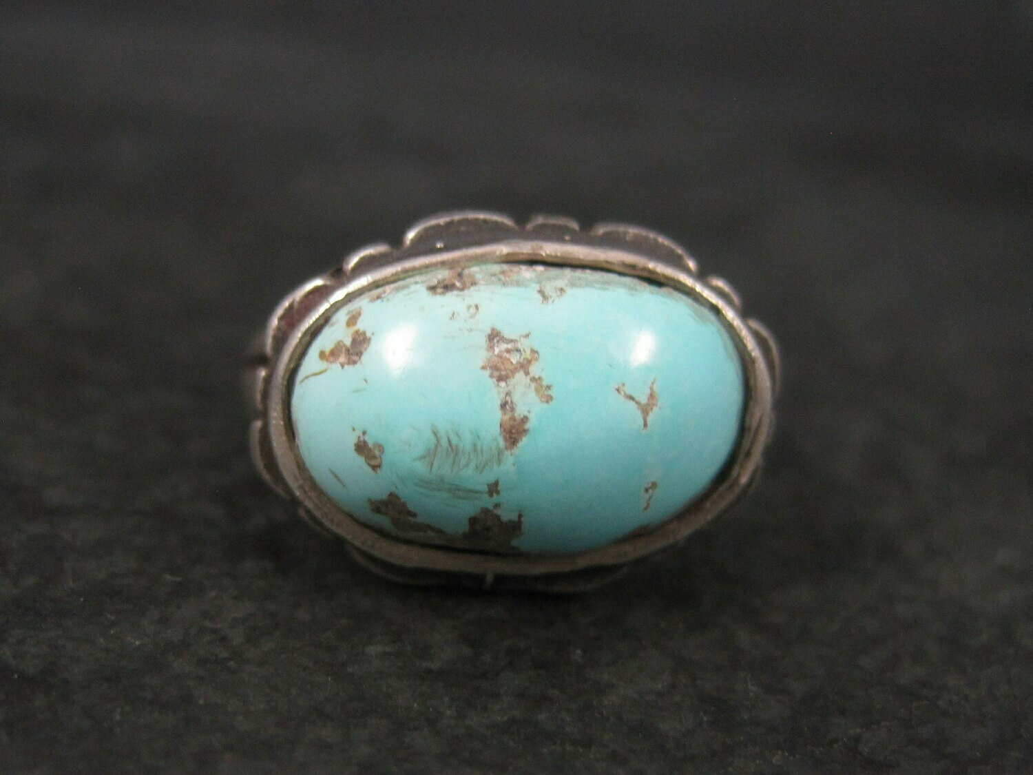 Unusual Vintage Sterling Turquoise Ring Size 9.75