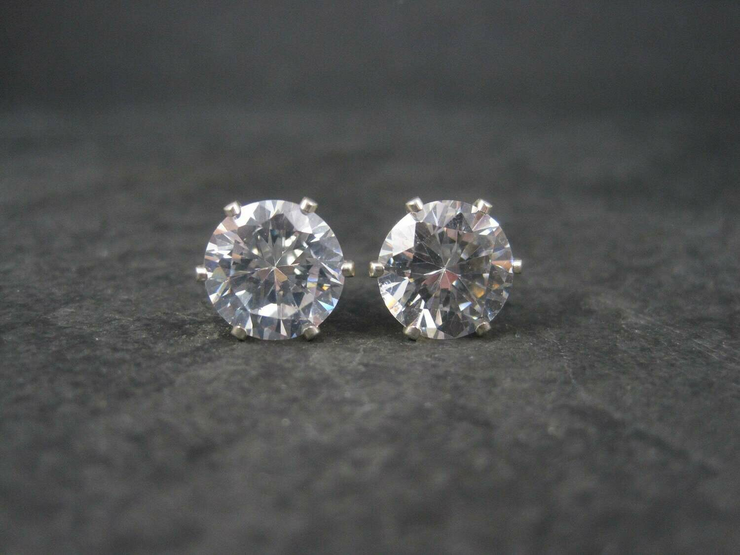 April Birthstone Sterling Stud Earrings 10mm