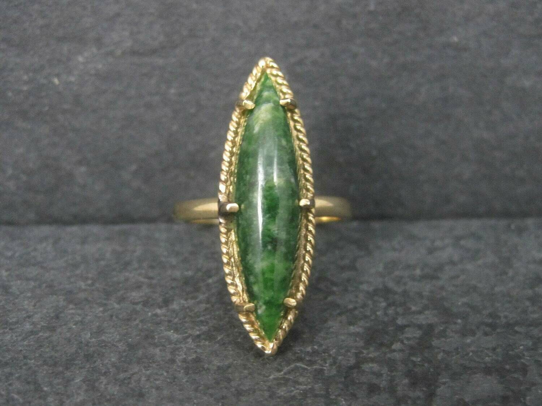 Long Vintage 10K Jade Ring Size 7.75