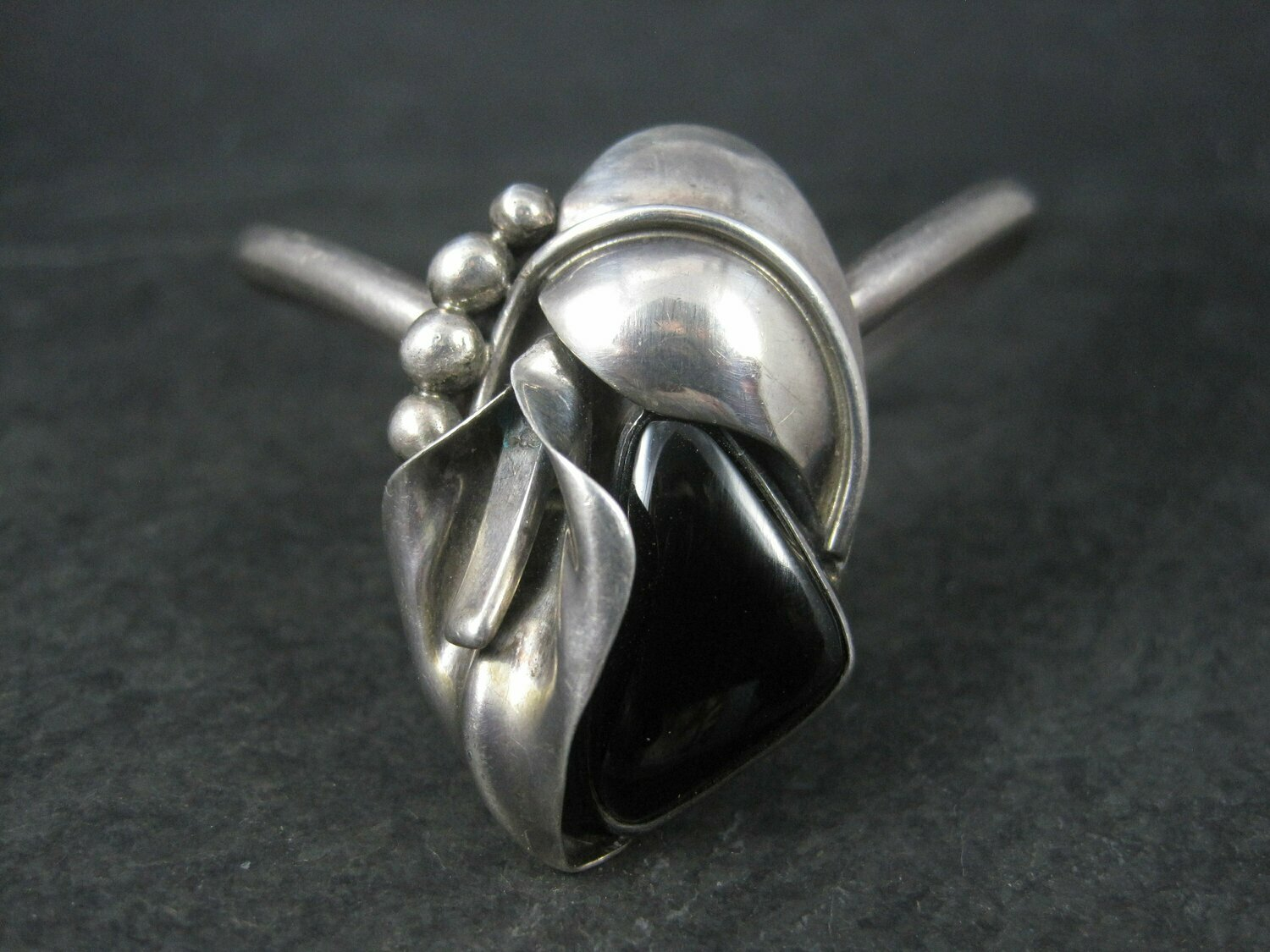Southwestern Sterling Lily Onyx Cuff Bracelet 6 Inches