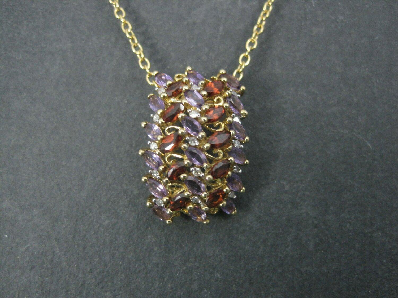 Vintage 90s 10K Amethyst Garnet Pendant Necklace