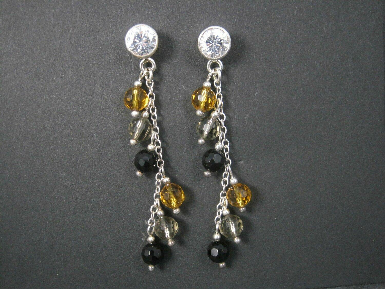 Earthy Sterling Crystal Dangle Earrings