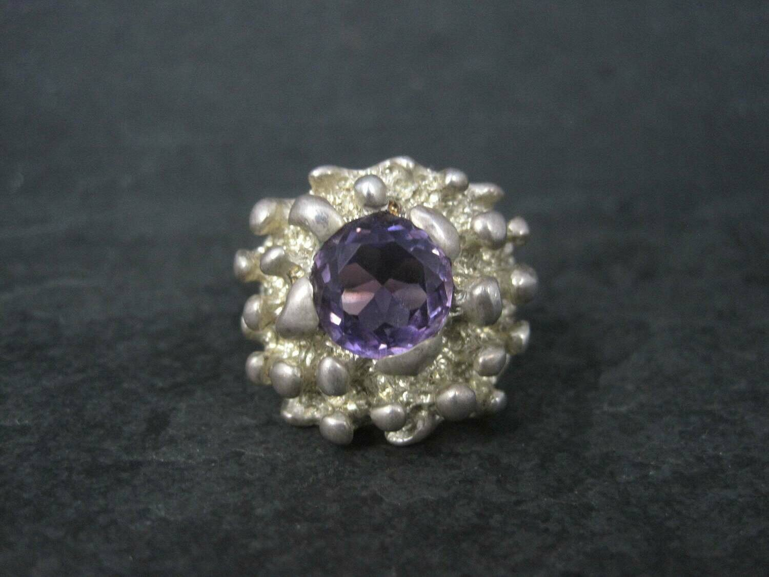 Heavy Vintage Mexican Sterling Amethyst Freeform Ring Size 11