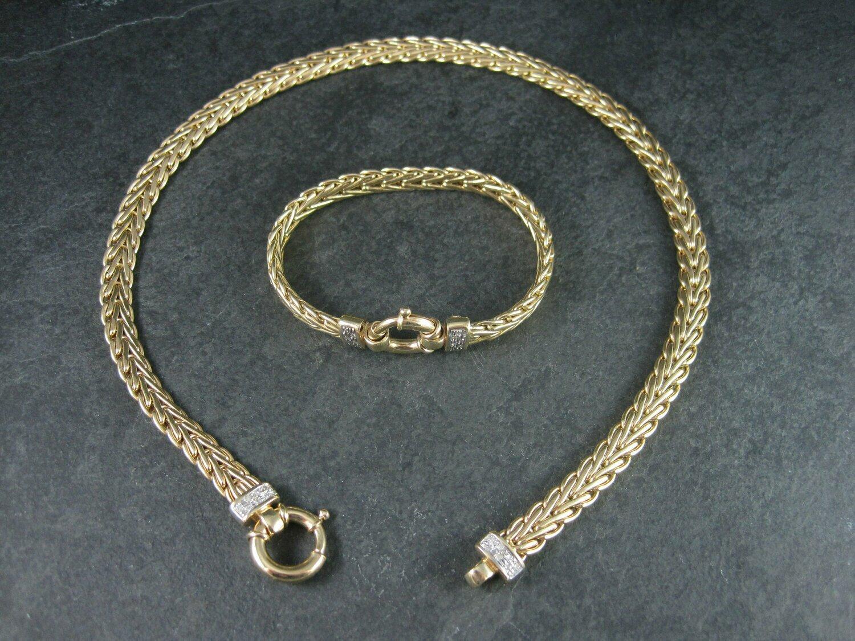 Chunky Vintage Italian 14K Diamond Necklace Bracelet Jewelry Set