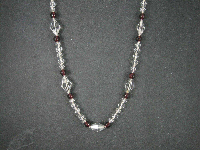 Vintage 14K Garnet Crystal Necklace 33 Inches