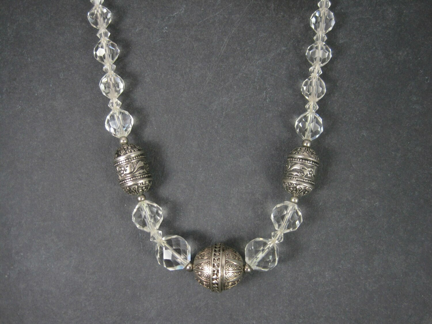 Vintage Sterling Czech Glass Faceted Bead Necklace