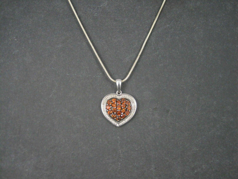 Vintage High End Sterling Madeira Citrine Diamond Heart Pendant Necklace