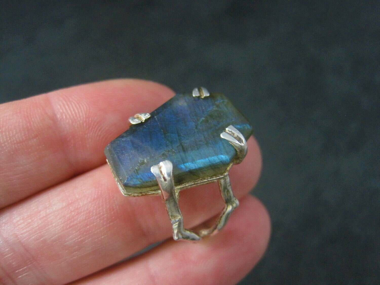 Sterling Silver Labradorite Coffin Ring Size 8