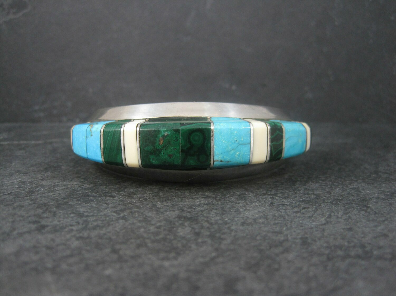 Massive Navajo Turquoise Malachite Inlay Cuff Bracelet Elsie Yazzie