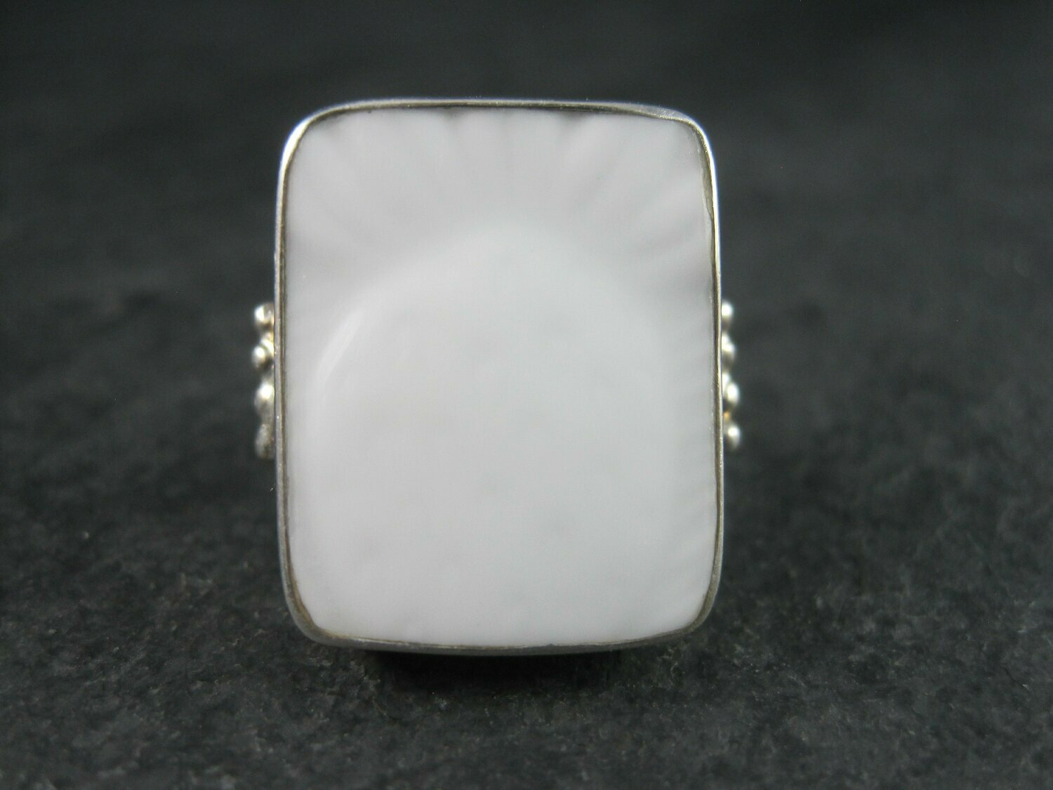 Vintage Sterling White Pottery Pineapple Ring Size 8.5