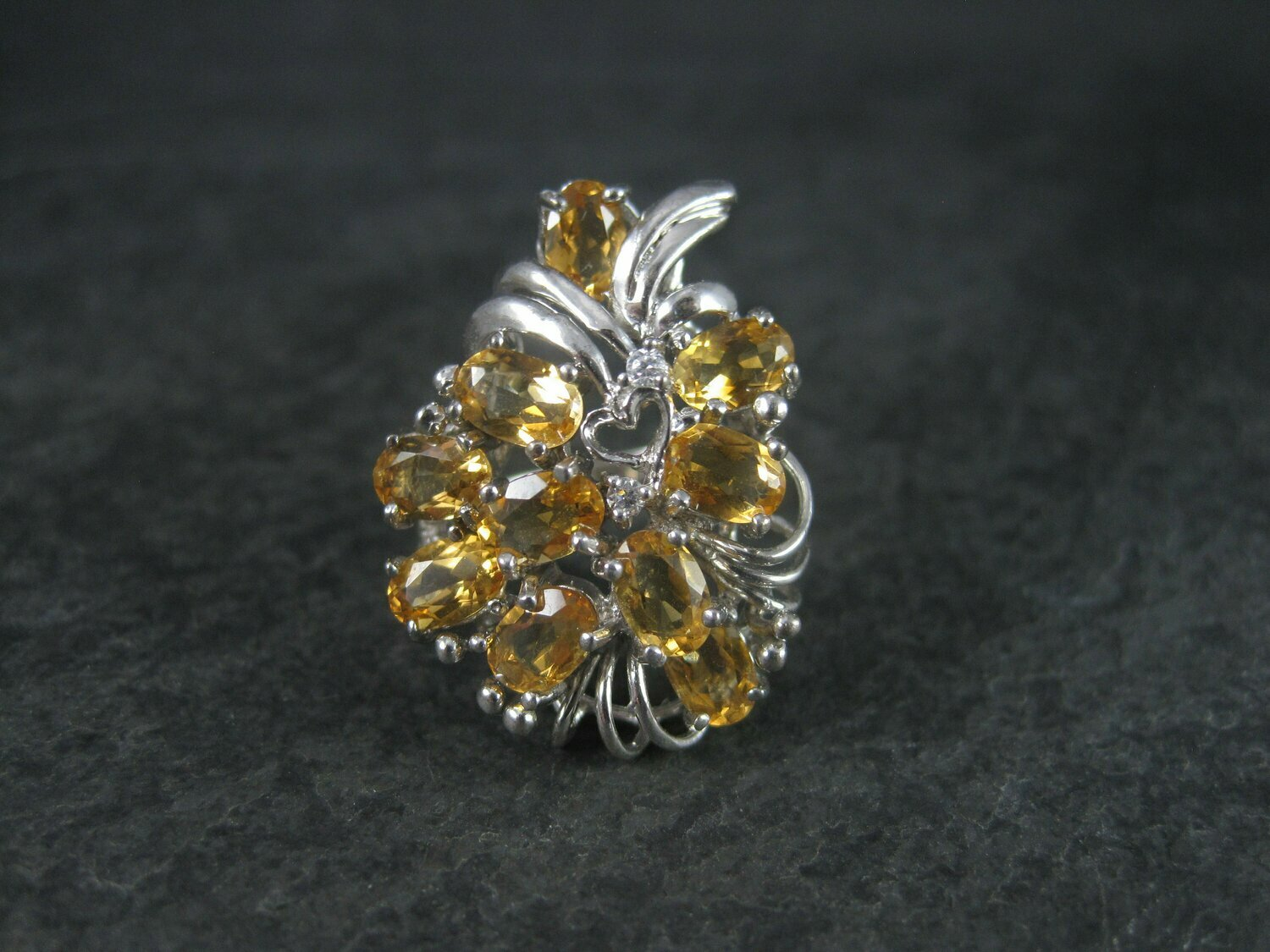 Vintage Sterling Yellow Golden Tourmaline Ring Size 9