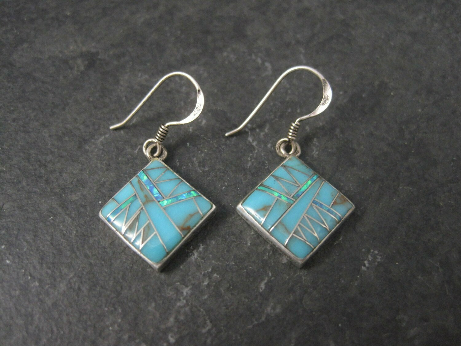 Southwestern Sterling Opal Turquoise Inlay Earrings