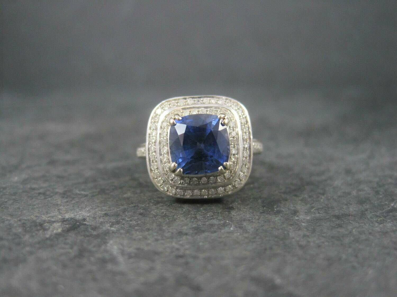 Vintage 14K Sapphire Diamond Engagement Ring Size 6