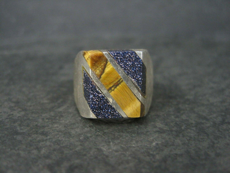 Vintage Mexican Sterling Blue Sandstone Tiger Eye Ring Size 10
