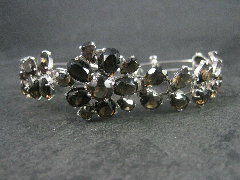 Vintage Sterling Silver Smoky Topaz Flower Bracelet 6.5 Inches