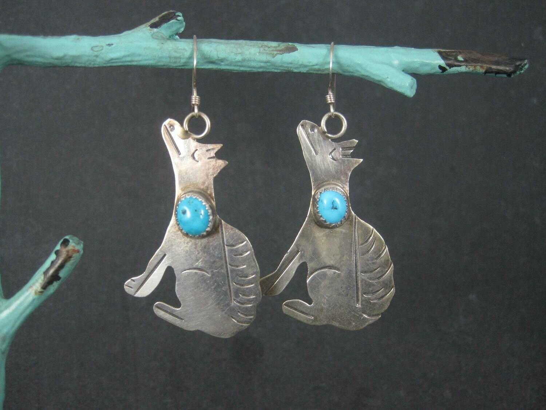 Vintage Southwestern Sterling Coyote Turquoise Earrings