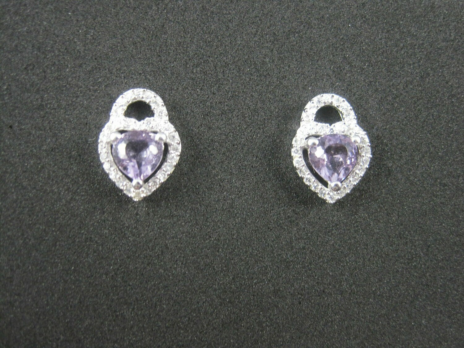 Sterling Amethyst Heart Stud Earrings