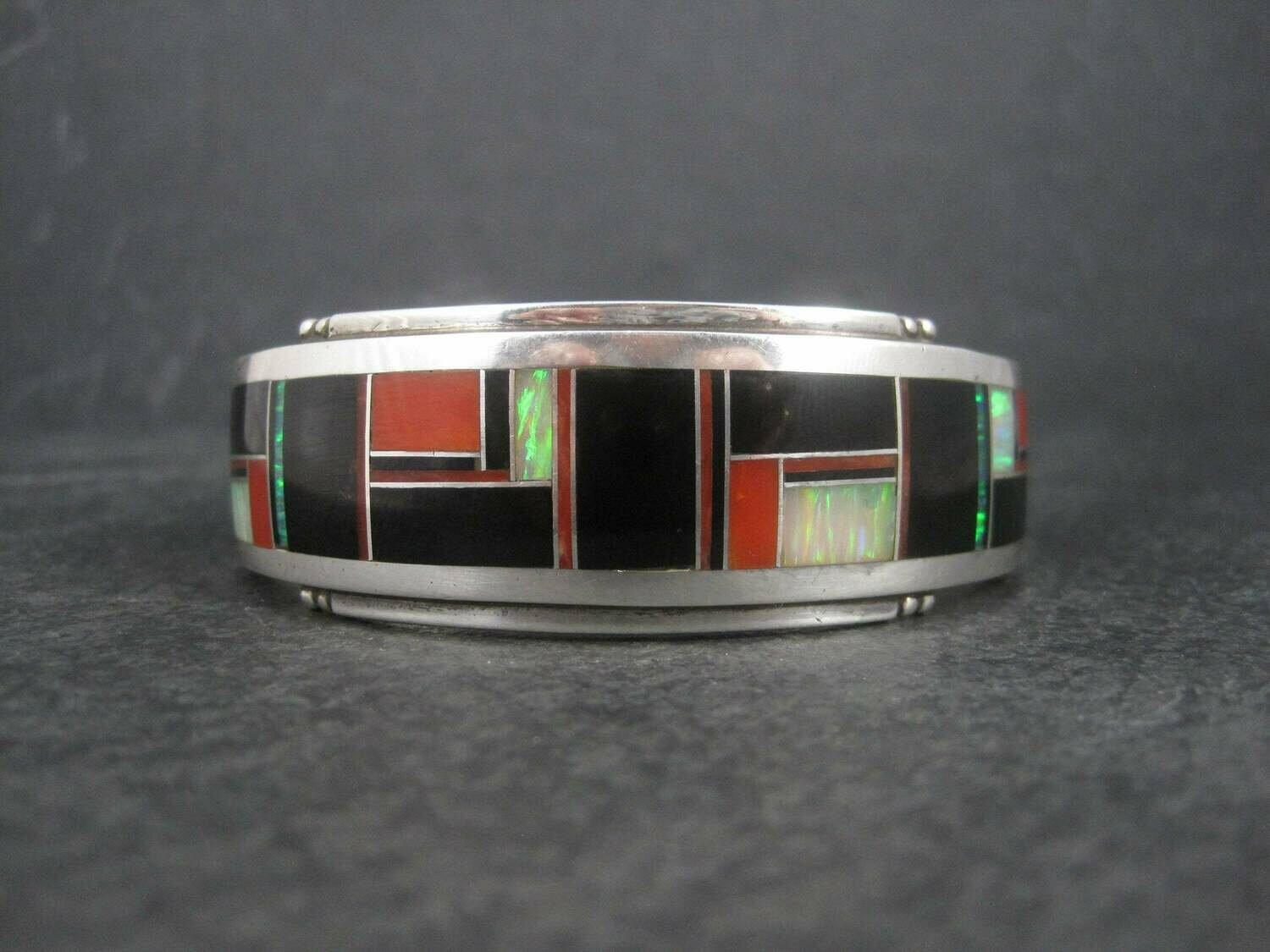 Vintage Southwestern Sterling Coral Onyx Opal Inlay Cuff Bracelet 6 3/8 Inches