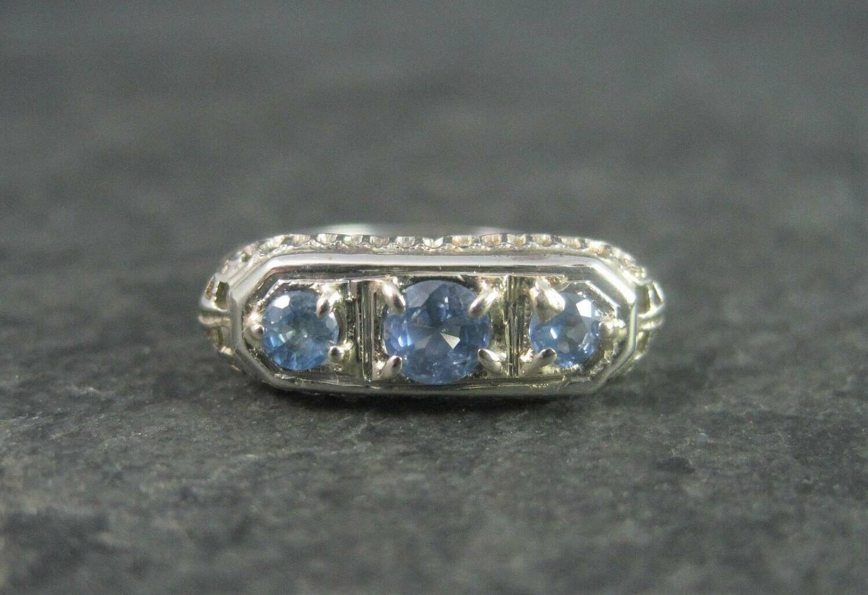 Antique 14K Cornflower Blue Sapphire Filigree Ring Size 6