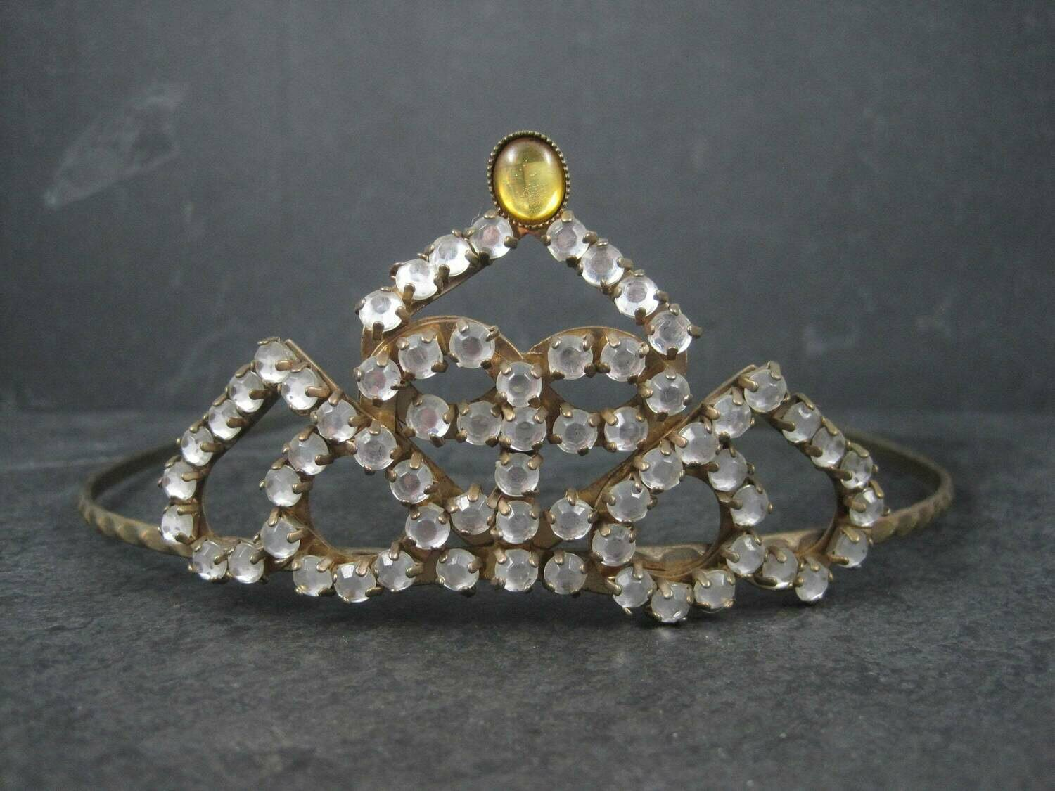 Antique Art Deco Heart Rhinestone Tiara Crown