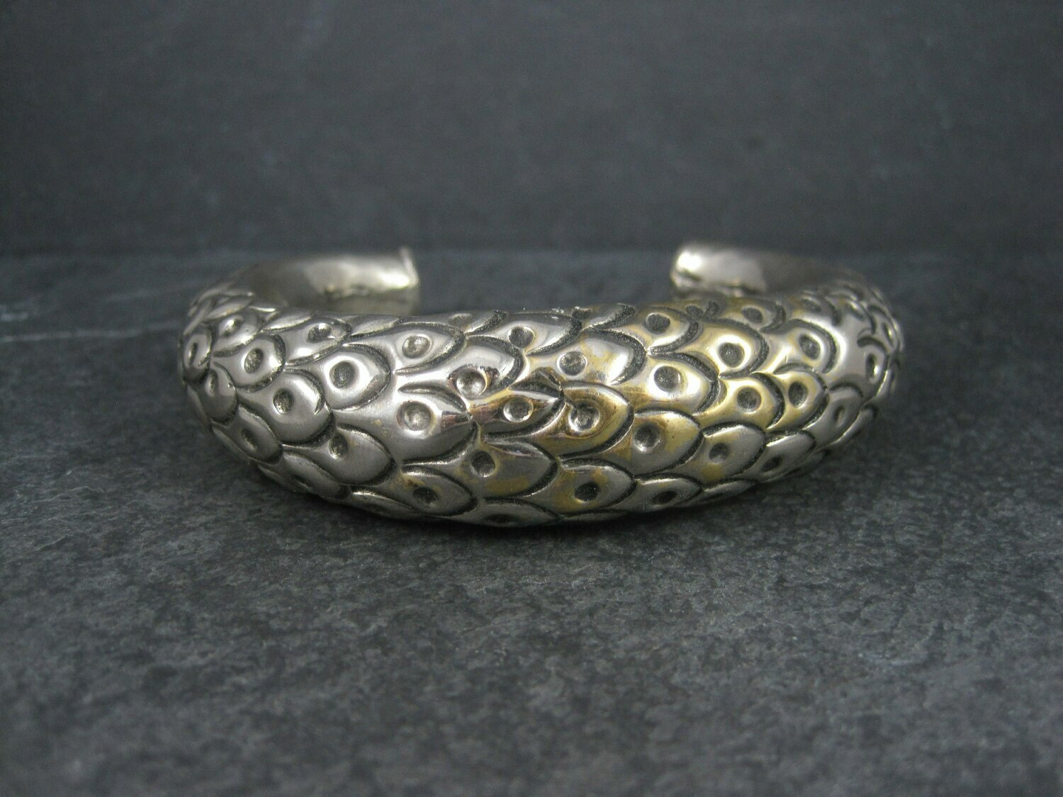 Antique Hollow Peacock Rattle Cuff Bracelet 7.25 Inches