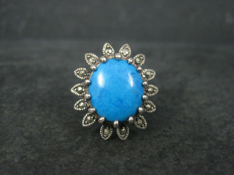 Vintage Sterling Blue Magnesite Marcasite Starburst Ring Size 8