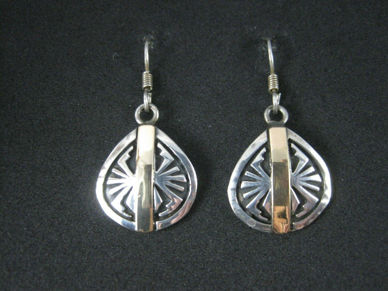 Vintage Sterling Silver 14K Southwestern Spider Earrings