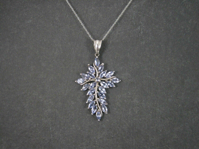 Vintage 90s 10K White Gold Tanzanite Cross Pendant Necklace