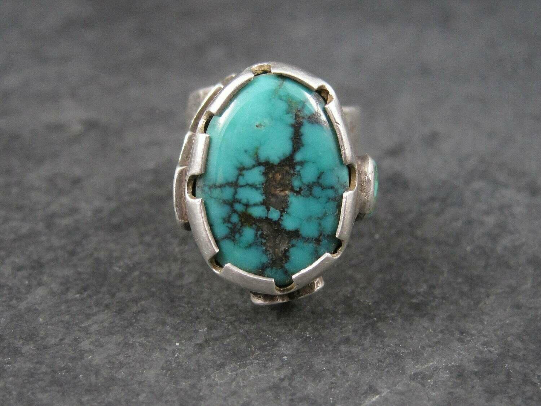 Huge Turquoise Ring Vintage Southwestern Tufa Cast Kewa Jewelry Size 6.5