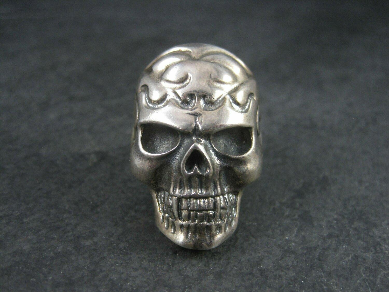 Mens Vintage Sterling Vampire Skull Ring Size 11