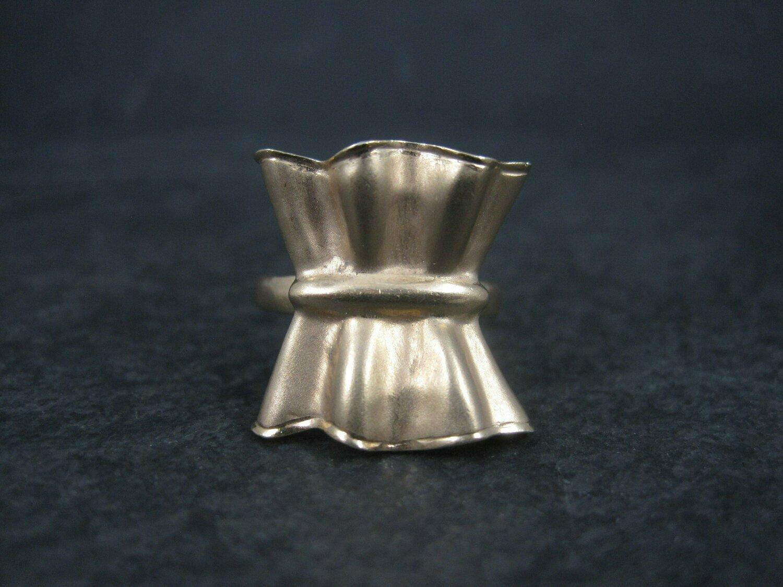 Vintage 18K Vermeil Sterling Textured Bow Ring Charles Garnier Size 8