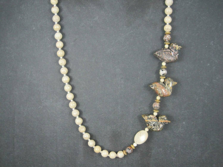 Vintage 14K Carved Jasper Duck Bead Hand Knotted Necklace