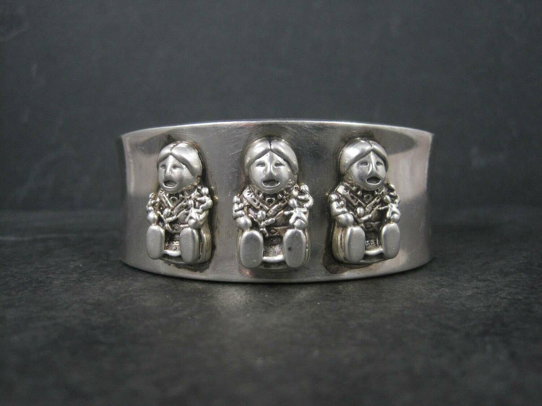 Vintage 1988 Sterling Storyteller Cuff Bracelet 6.75 Inches Carol Felley