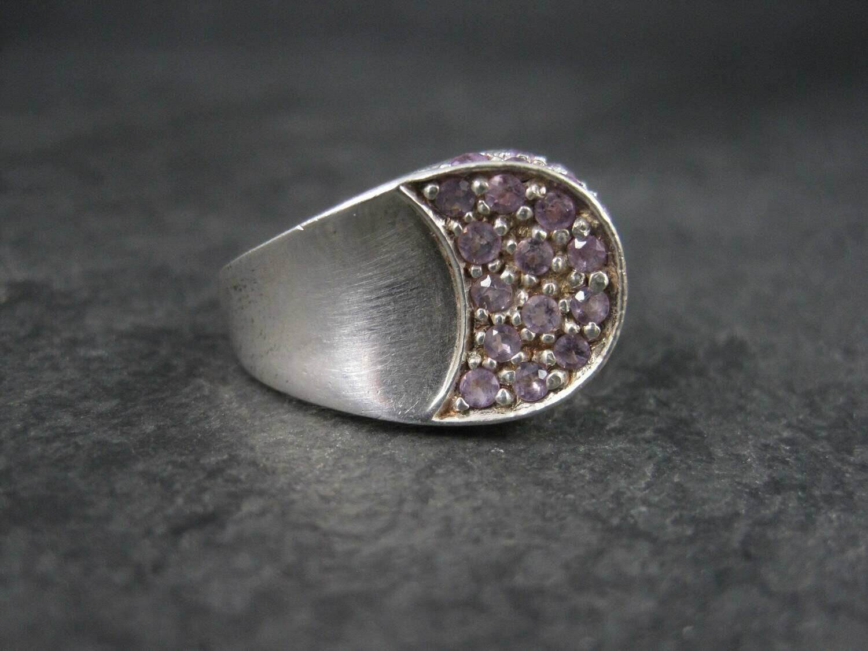 Vintage Sterling Amethyst Crescent Moon Ring Size 6